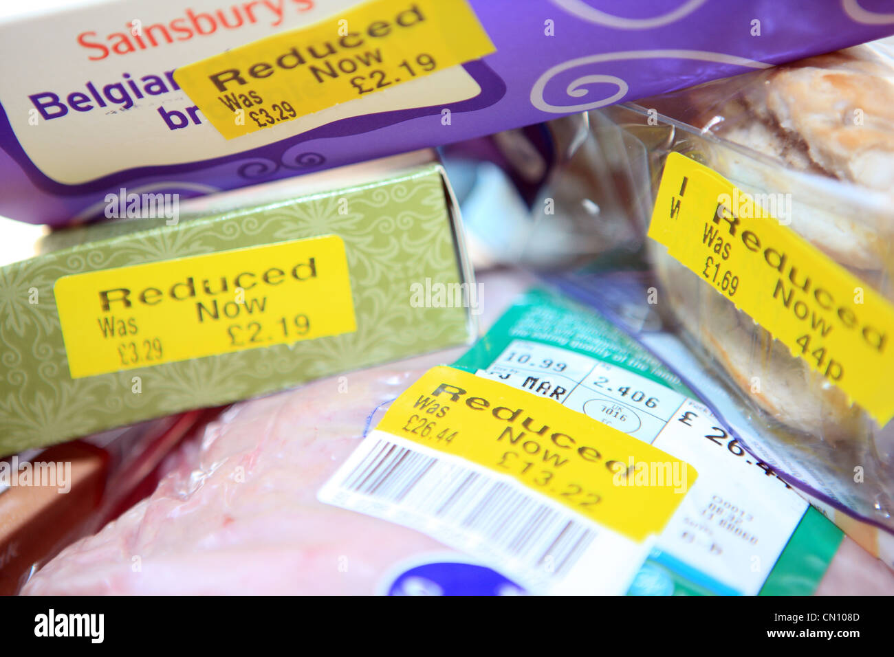 Reduced priced food items in supermarket - Stock Image