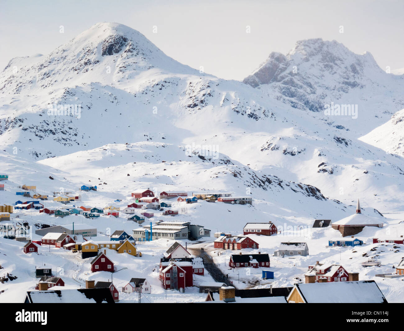 Arctic landscape Inuit village - Tasiilaq, Greenland - Stock Image