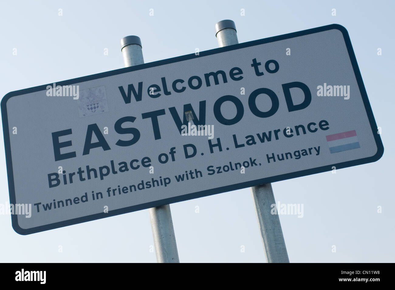 The town sign of Eastwood in Nottinghamshire - Stock Image
