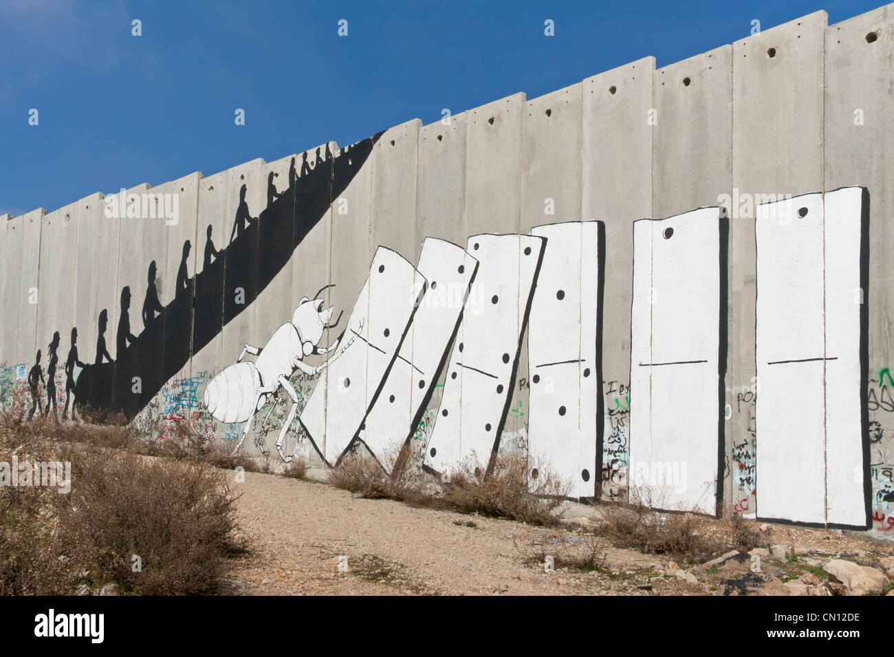 the separation wall in Bethlehem, Palestine - Stock Image