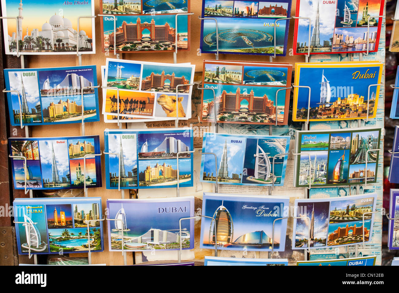 Postcards for sale in the Old Souk, Dubai - Stock Image