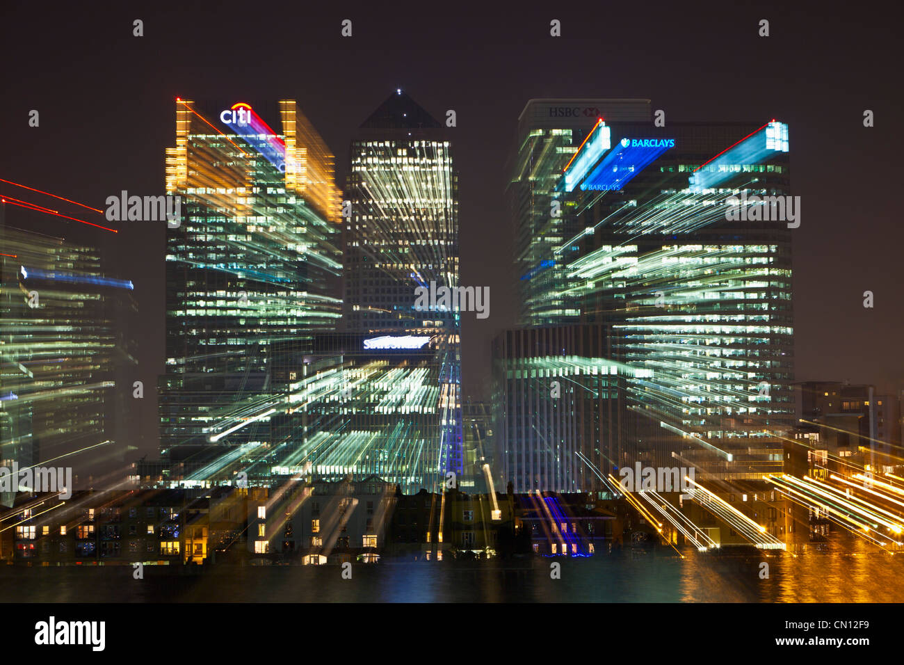 Canary Wharf financial district with a zoom burst effect, London, UK - Stock Image