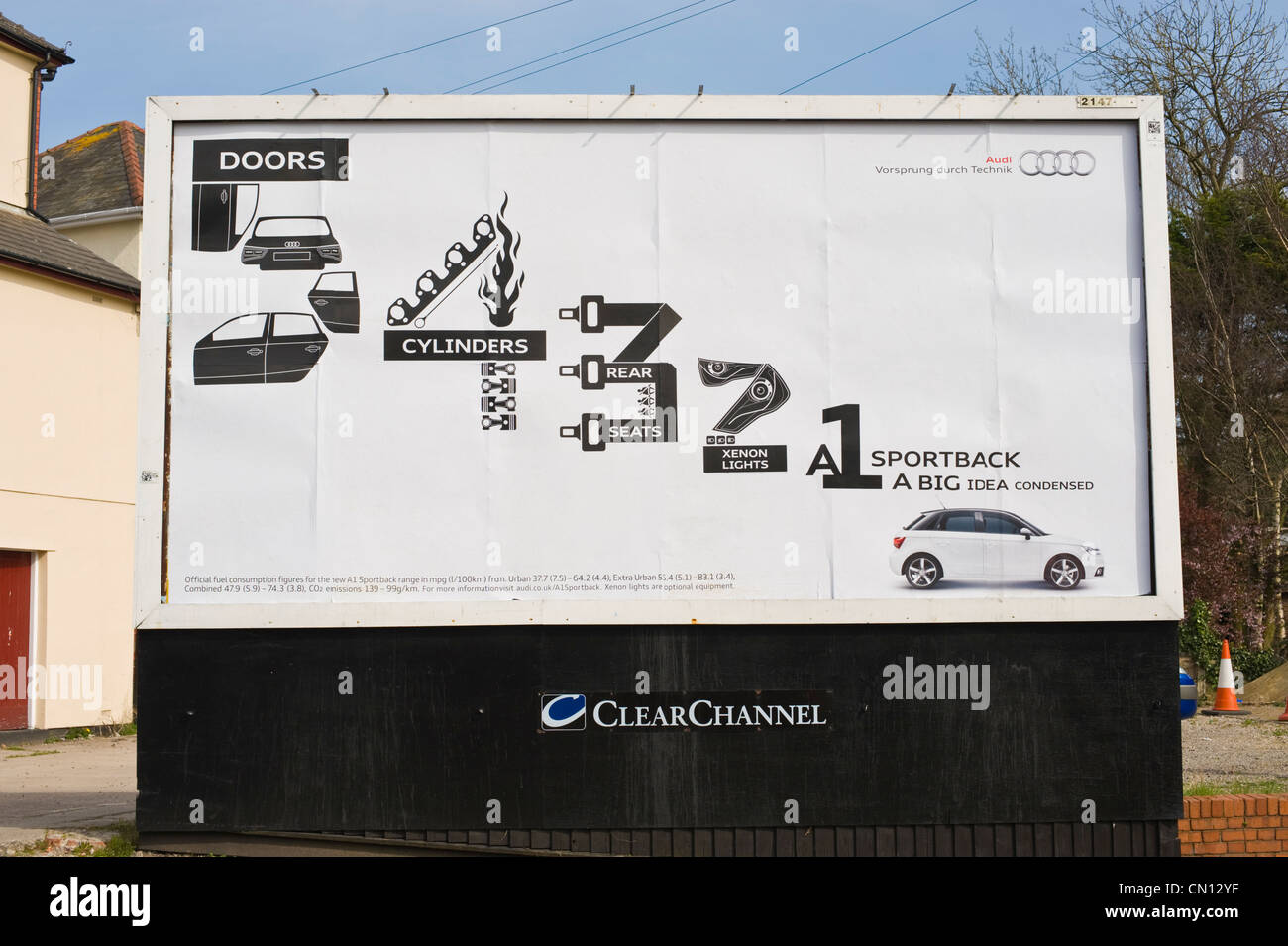 ClearChannel billboard hoarding for Audi cars in Newport South Wales UK - Stock Image