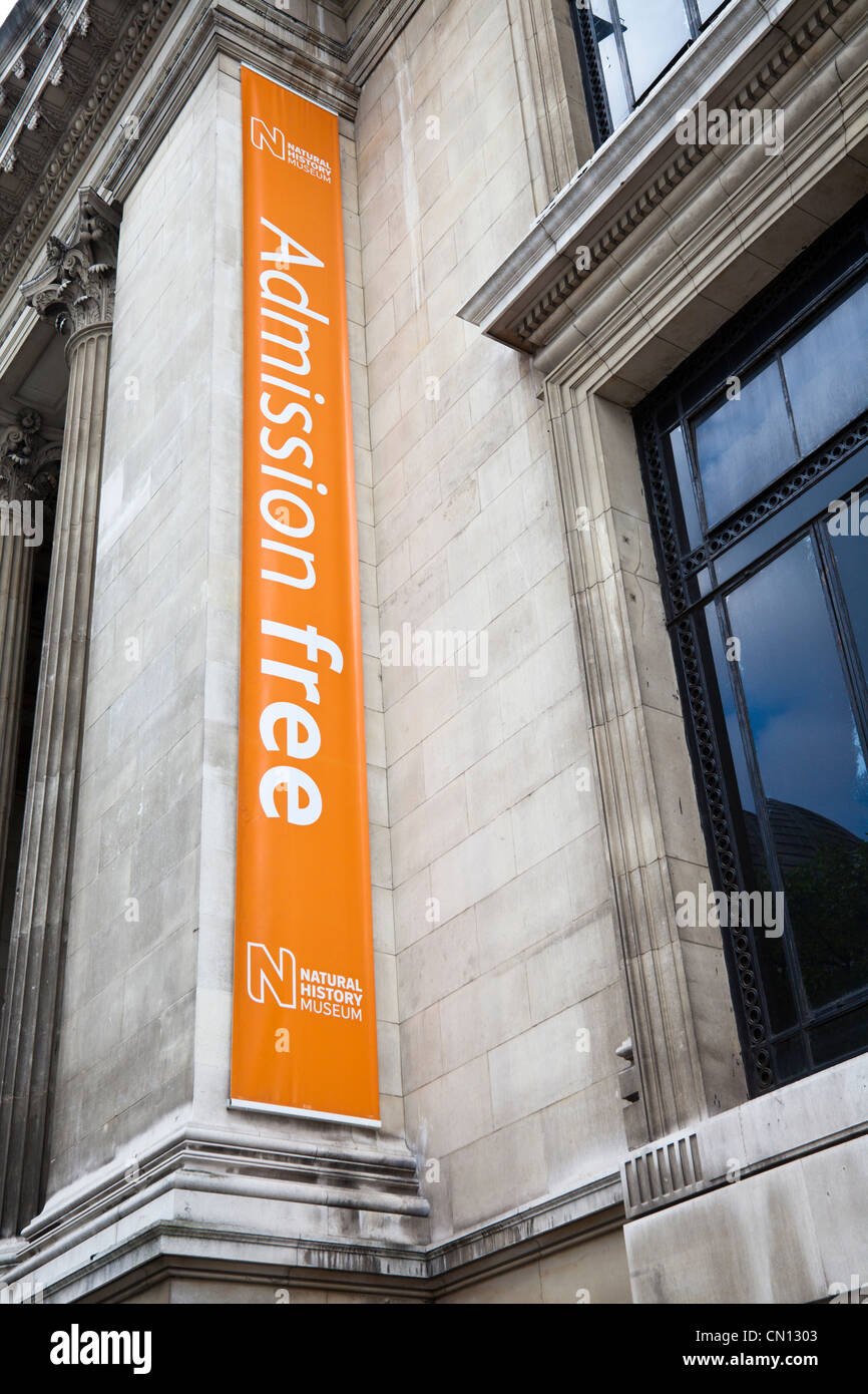 Natural History Museum, London, UK - Free Admission banner sign - Stock Image