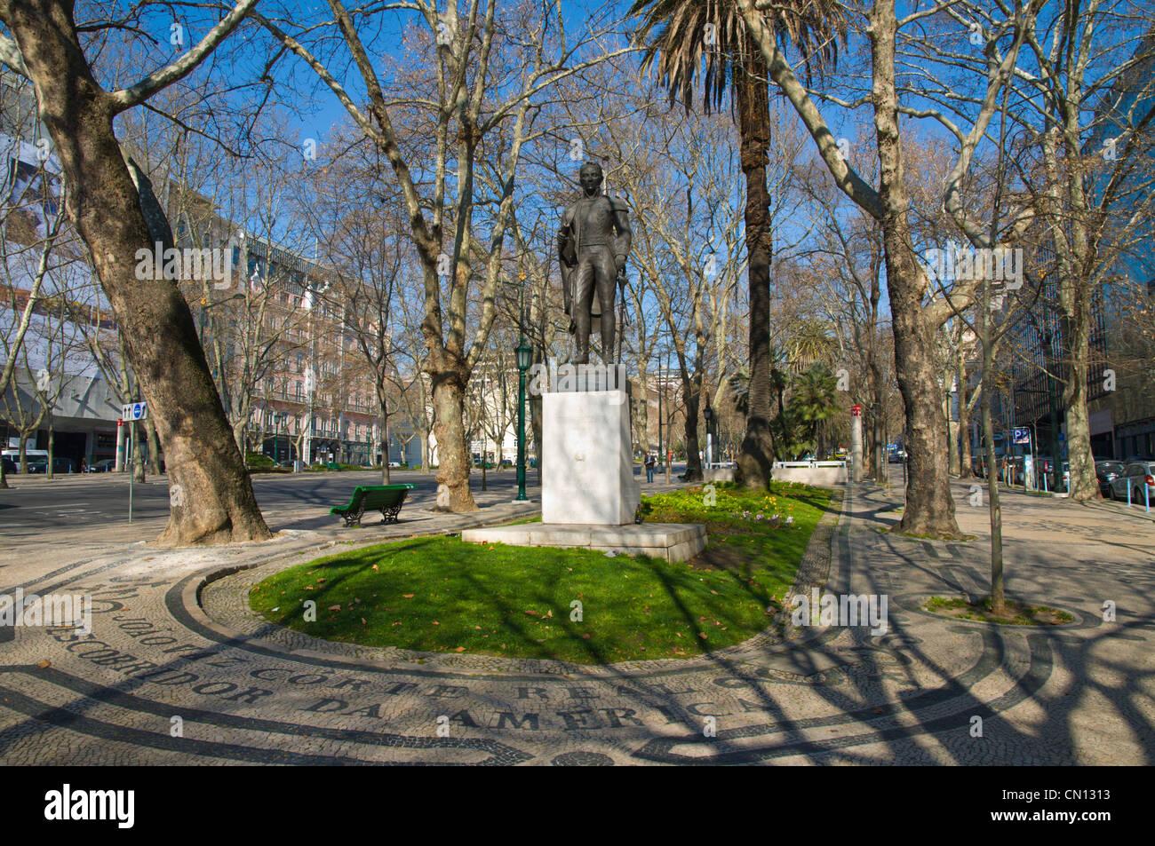 Statue of Joao Vaz Corte Real a Portuguese explorer Avenida de Liberdade boulevard central Lisbon Portugal Europe Stock Photo