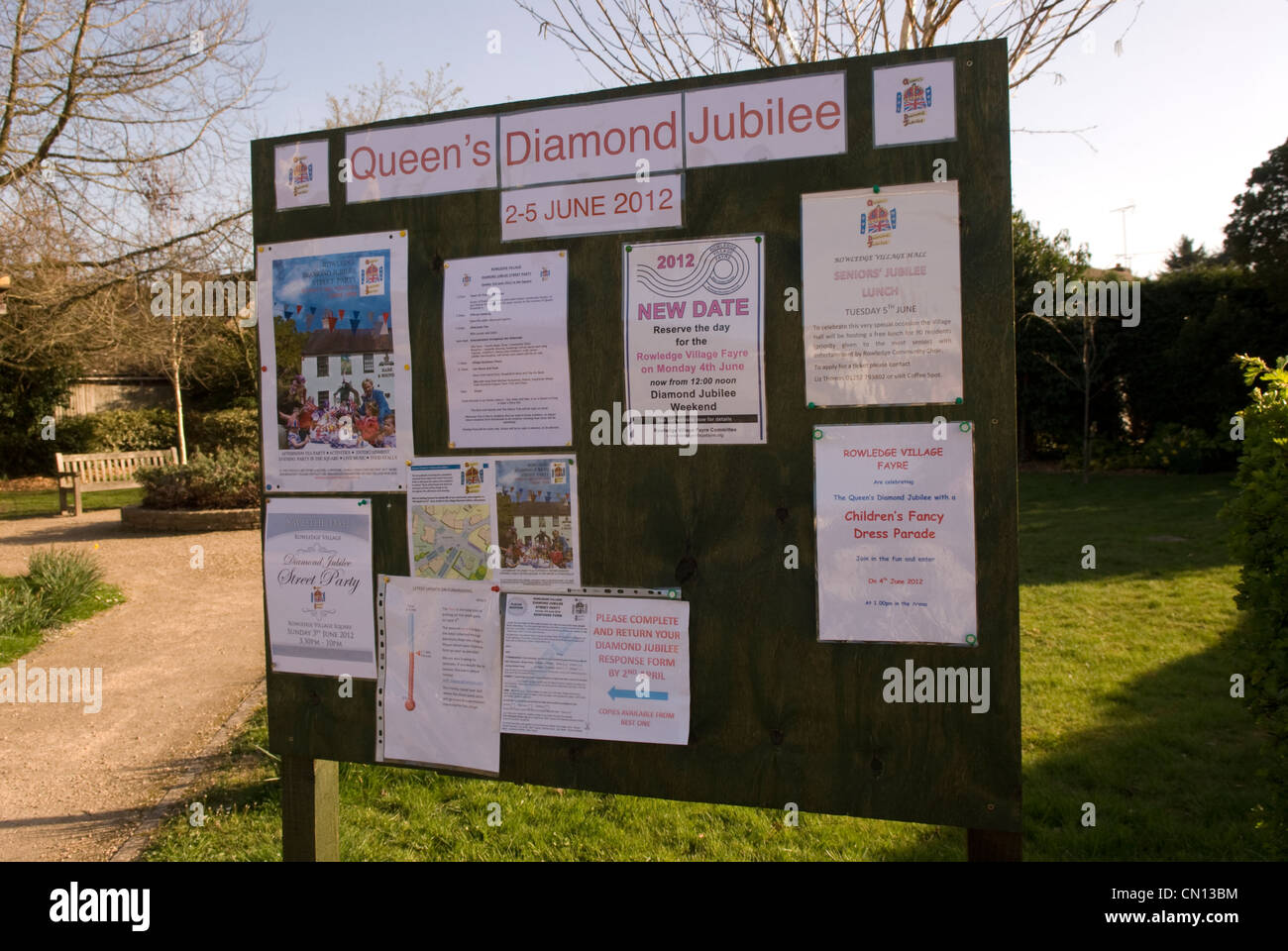 Noticeboard in village of Rowledge showing details of local celebrations for Queen's Diamond Jubilee in June - Stock Image