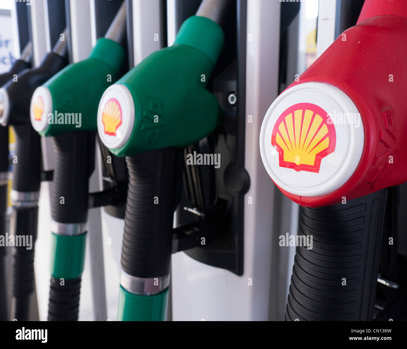 Detail of fuel pump at Shell filling station - Stock Image