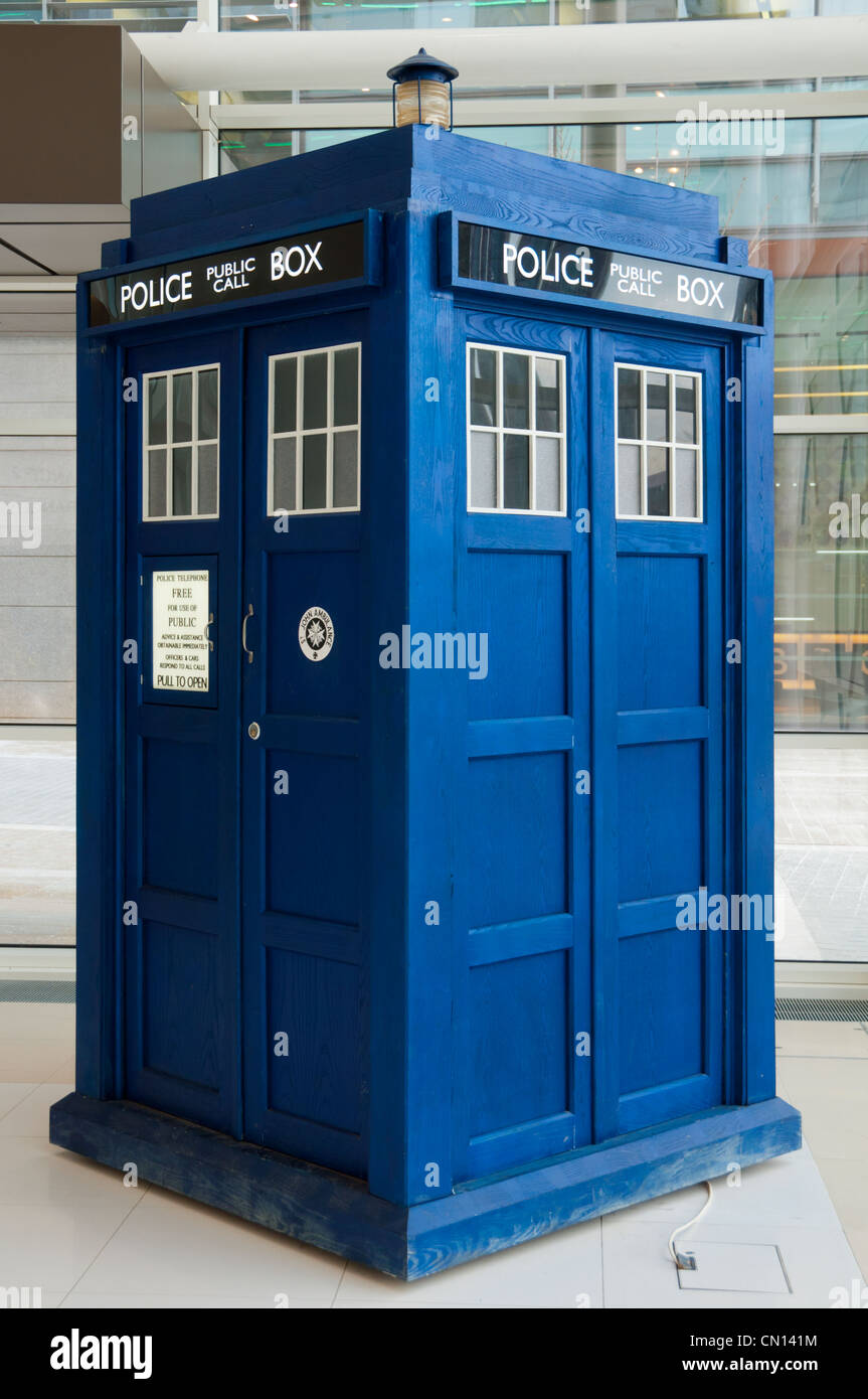 Doctor Who Tardis police box in the atrium of the Studios building, MediaCityUK, Salford Quays, Manchester, England, - Stock Image