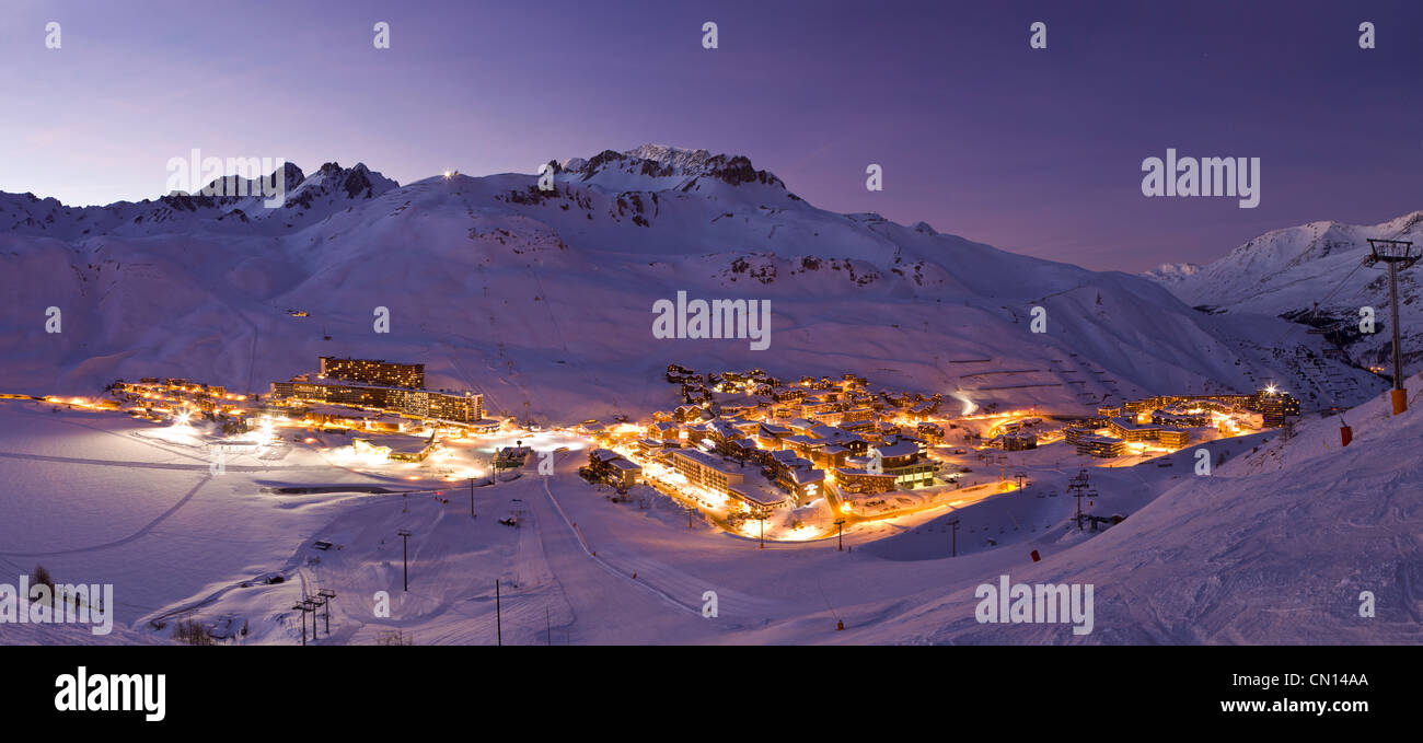 France, Savoie, Tignes, Tignes le Lac, Massif de la Vanoise, Tarentaise valley Stock Photo