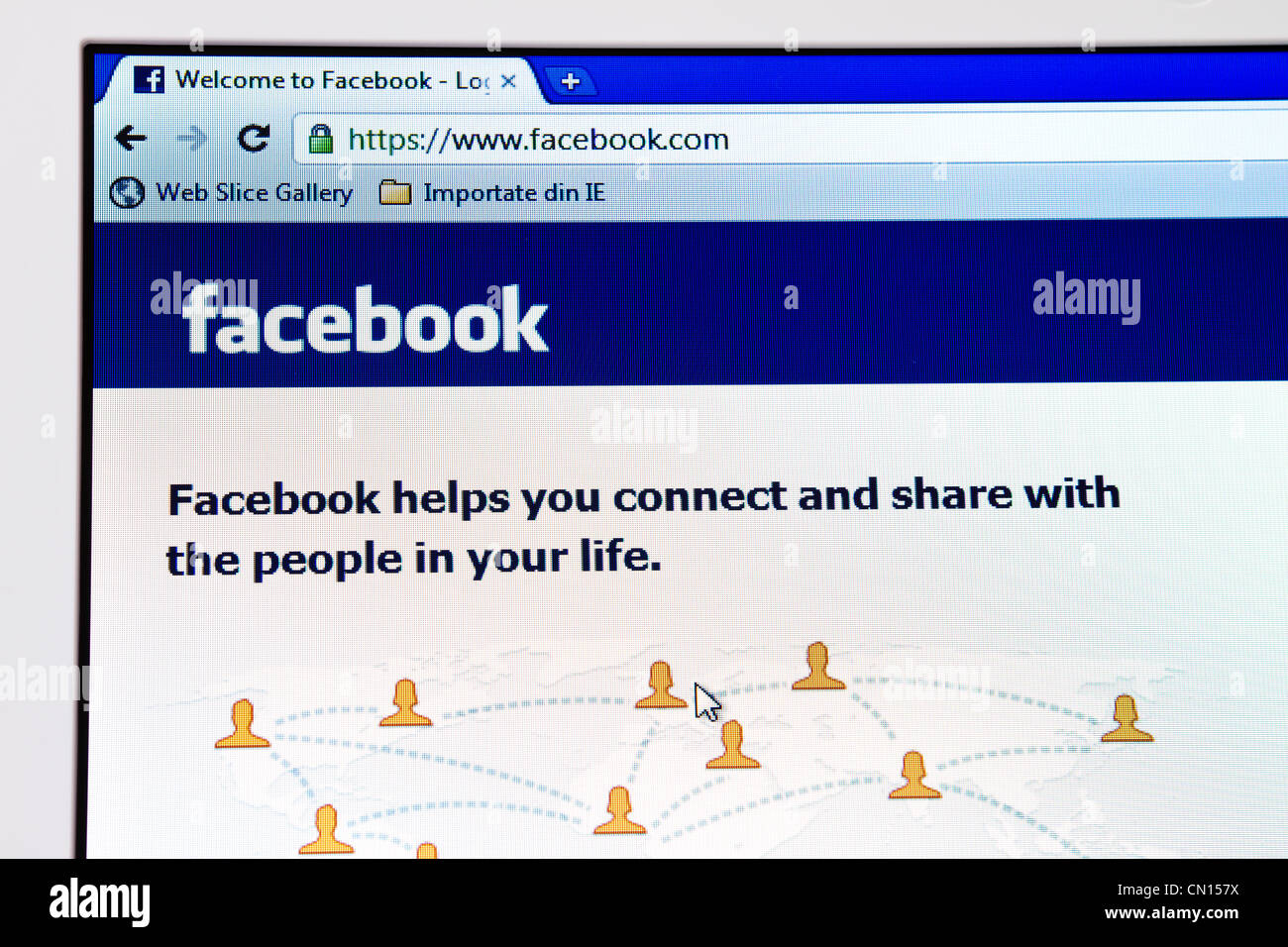 Facebook home-page - Stock Image