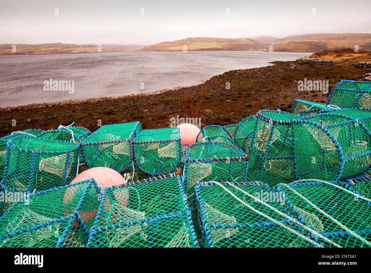 Lobster pots or creels on the harbour at Portnalong, Isle of skye, Scotland, UK. Stock Photo