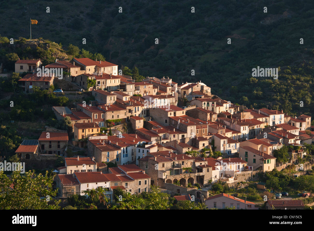 France, Pyrenees Orientales, the village of Ria Sirach, close to Villefranche de Conflent - Stock Image