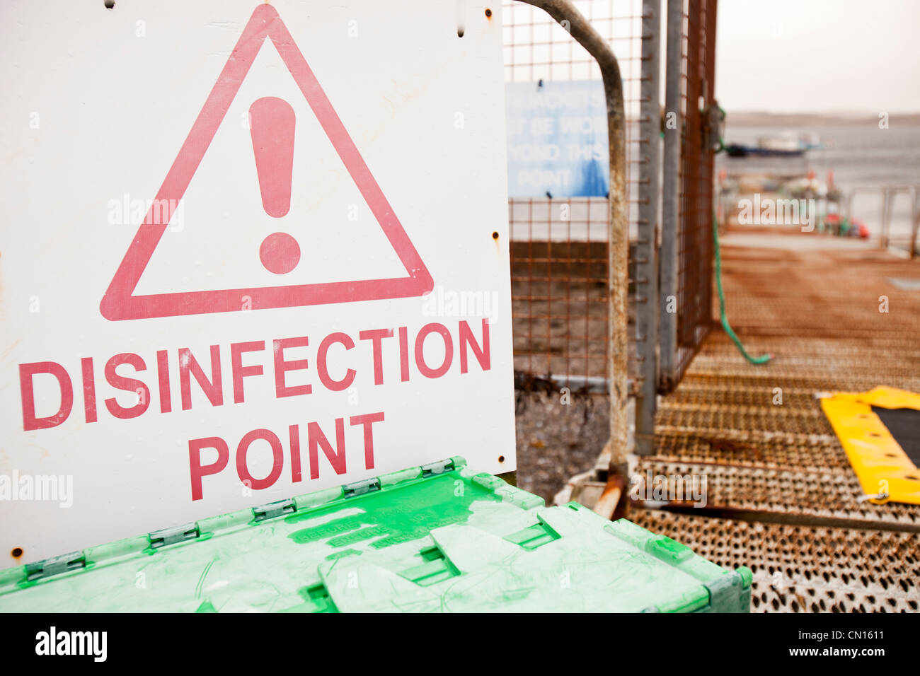 A disinfection point at the jetty used by the Portnalong Salmon Farm, Isle of Skye, Scotland, UK. Stock Photo