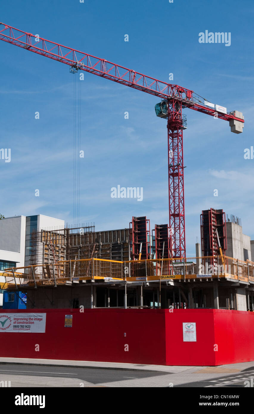 Civil Engineering Construction Site at the Swansea SA1 Development in south Wales - Stock Image