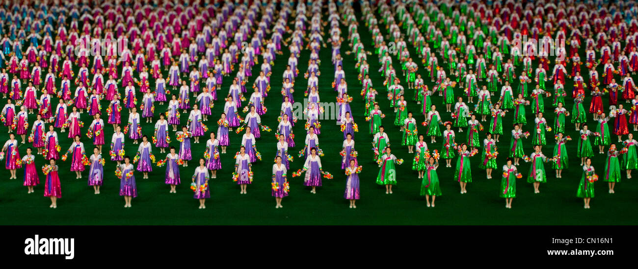 Arirang Mass Games in May Day stadium in Pyongyang, North Korea - Stock Image