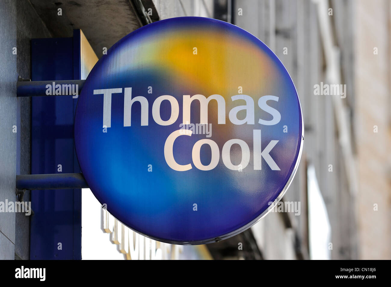 Signboard with logo of Thomas Cook travel agency, Flanders, Belgium - Stock Image