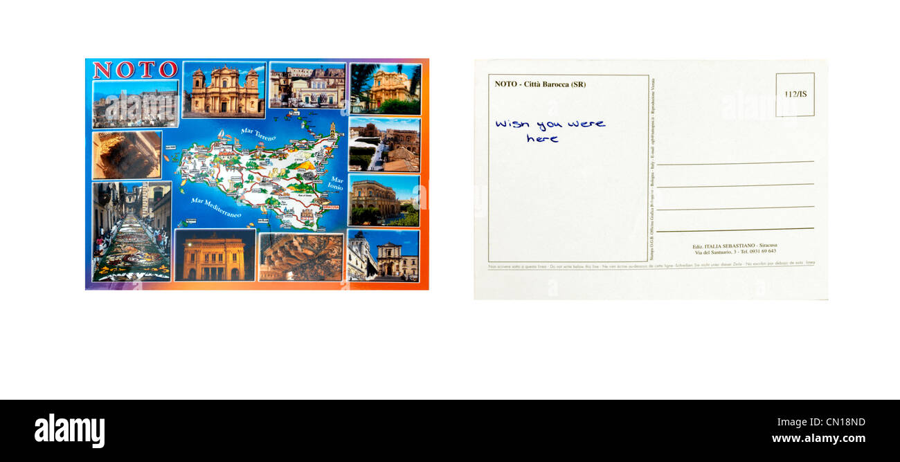 A Postcard From Noto Sicily Front And Back With Wish You