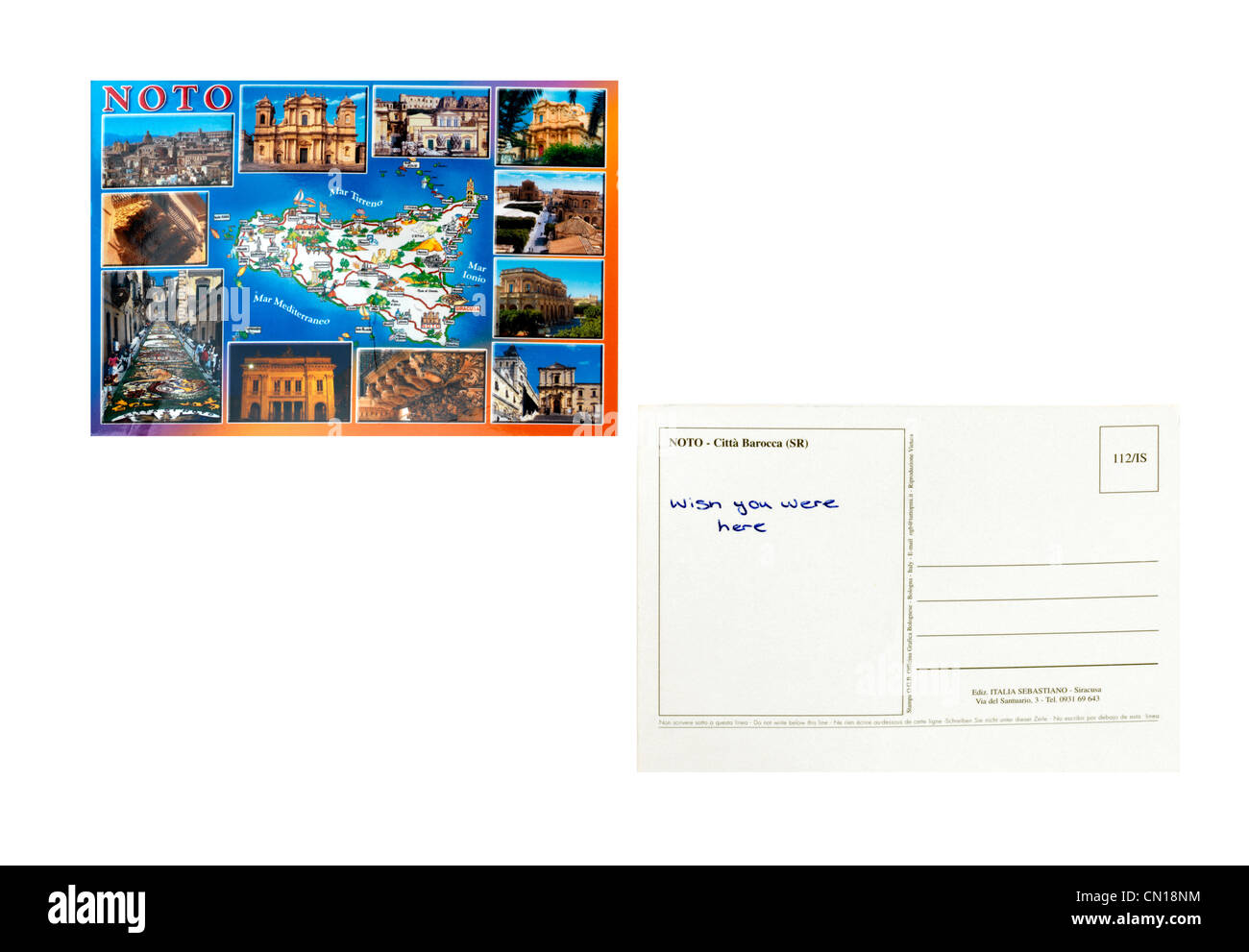 A Postcard From Noto Sicily Front And Back With Wish You Were Here Written On It