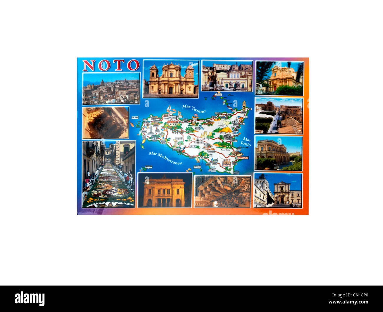 Postcard From Noto Sicily Italy - Stock Image