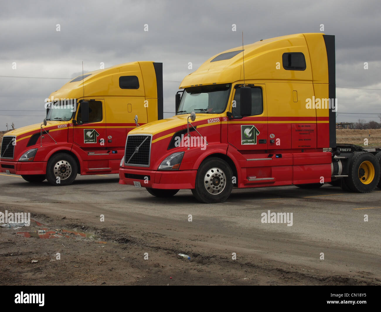 Front cab of yellow and red transport trucks - Stock Image