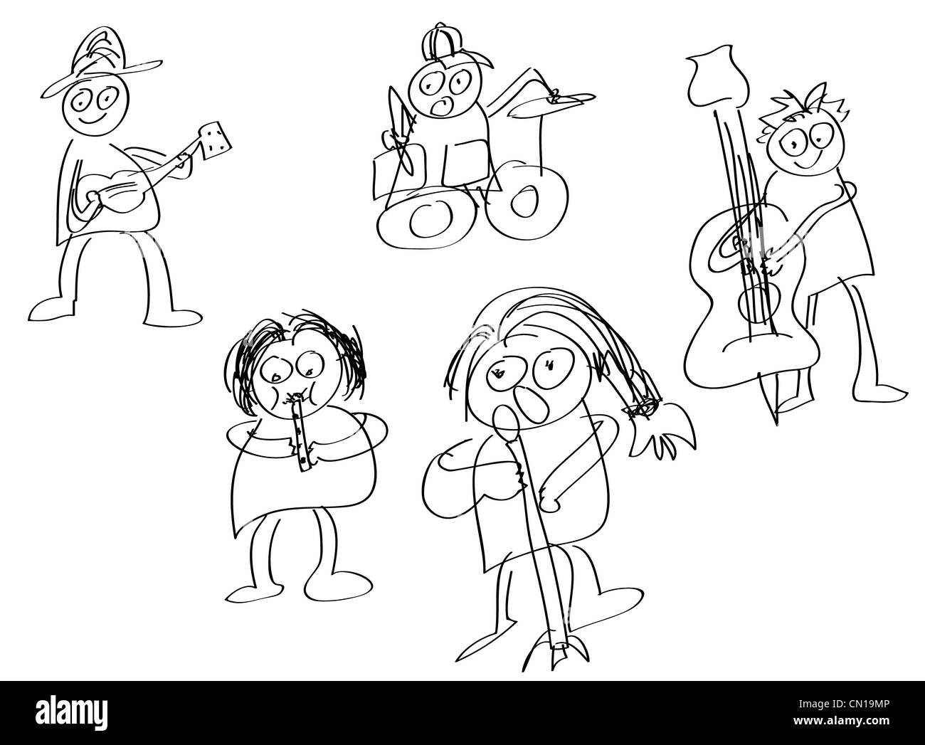 Hand draw members of rock band. - Stock Image
