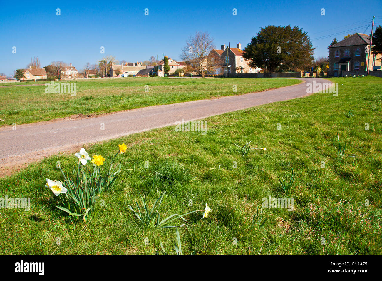 Houses around the large open common at Broughton Gifford, Wiltshire, England, UK Stock Photo
