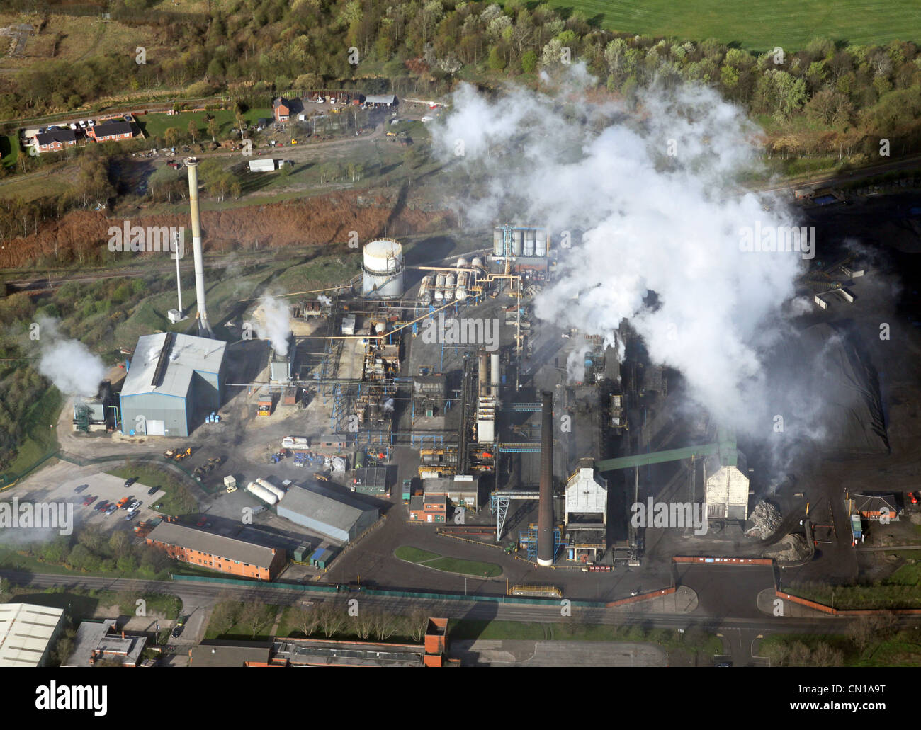 Aerial view of factory pollution - Stock Image