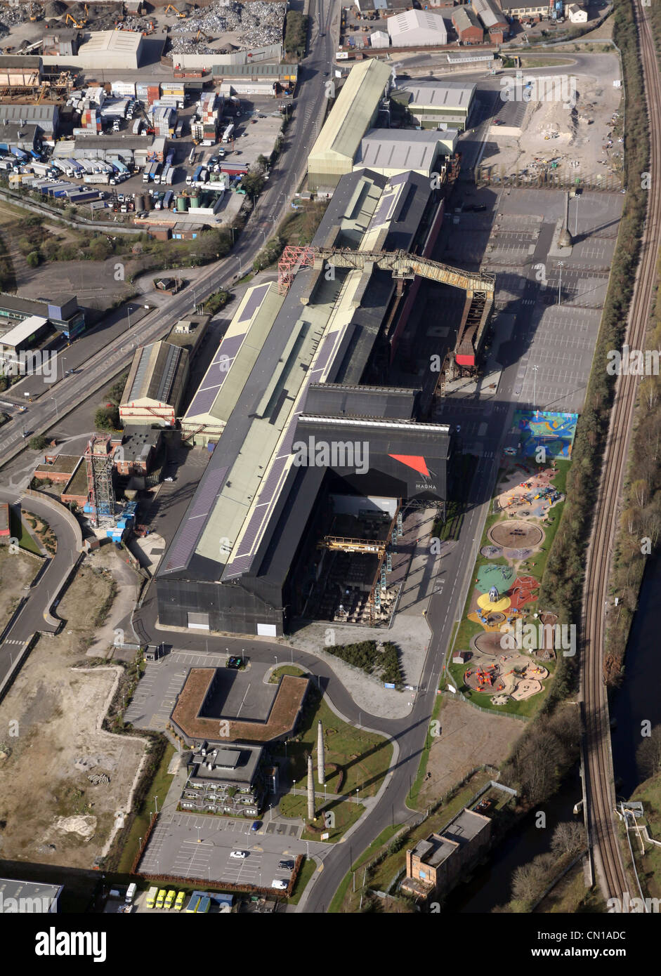 Aerial view of Magna Science Adventure Centre, The Magna Museum Rotherham - Stock Image