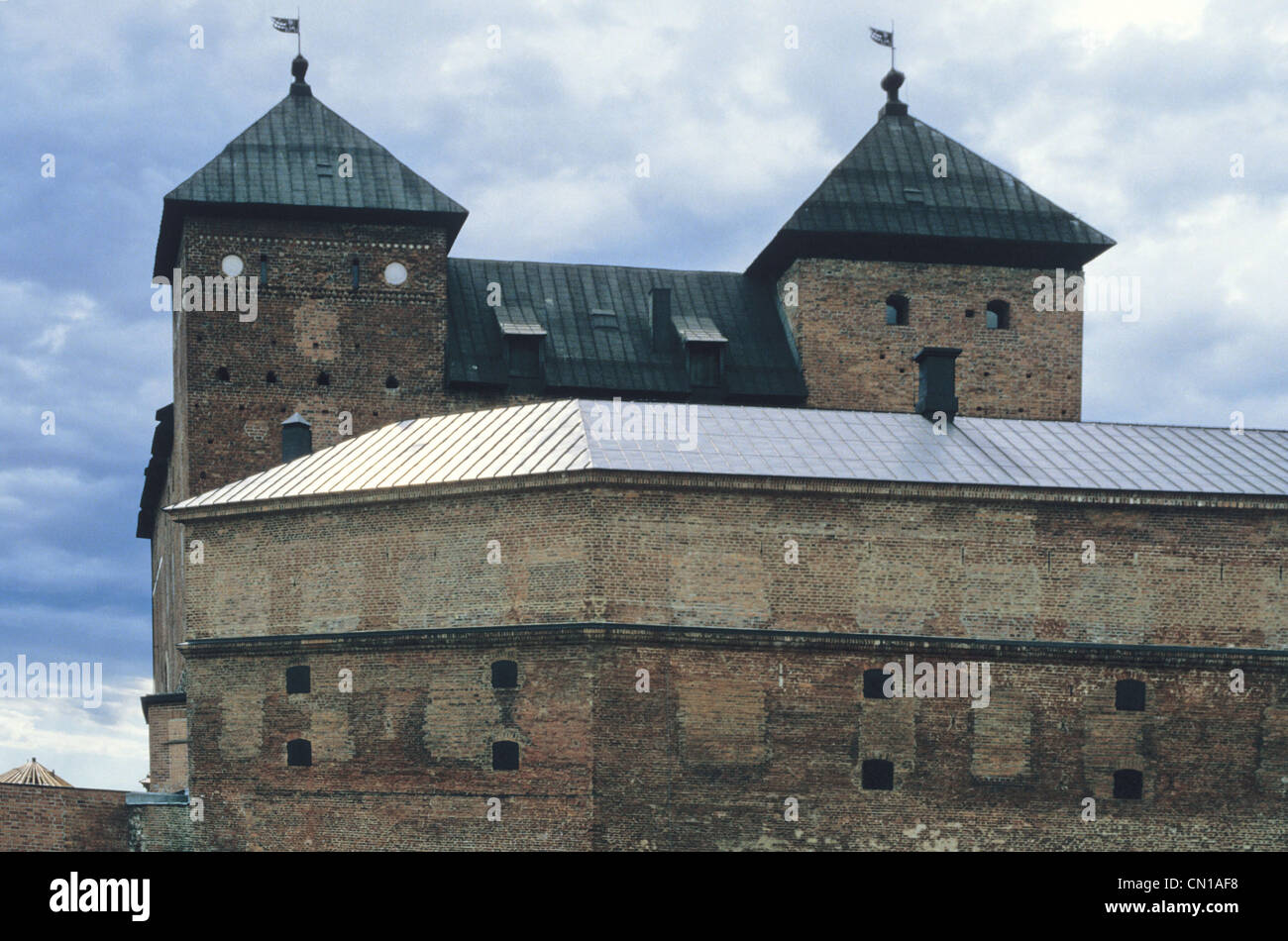 Hame Castle is a medieval castle in Hameenlinna, Finland. The castle is located on the shores of Lake Vanajavesi. Stock Photo