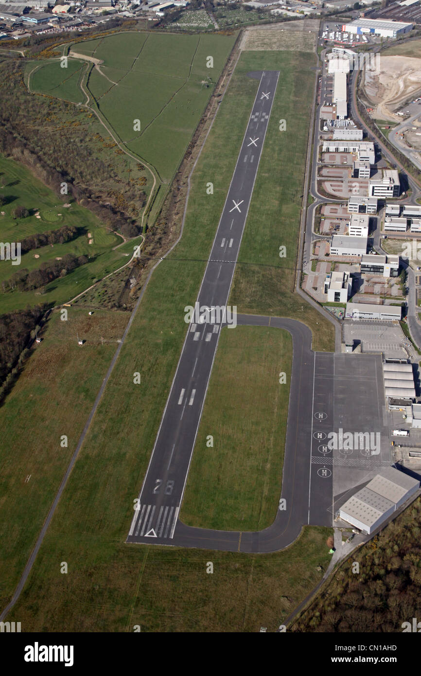 Aerial view of Sheffield Airport - Stock Image