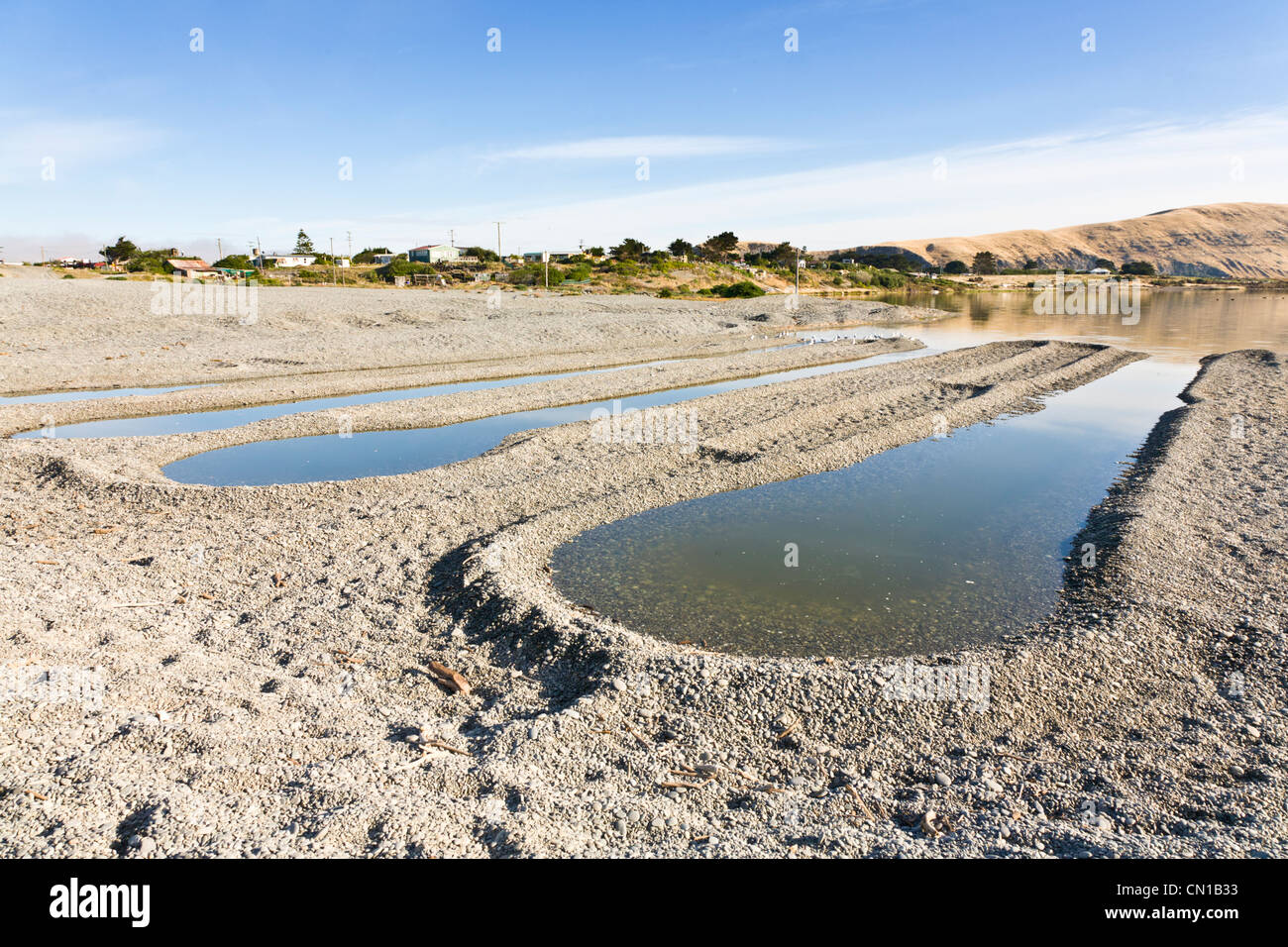 Eel traps or drains at Birdlings Flat, Banks Peninsula, Canterbury, New Zealand. - Stock Image