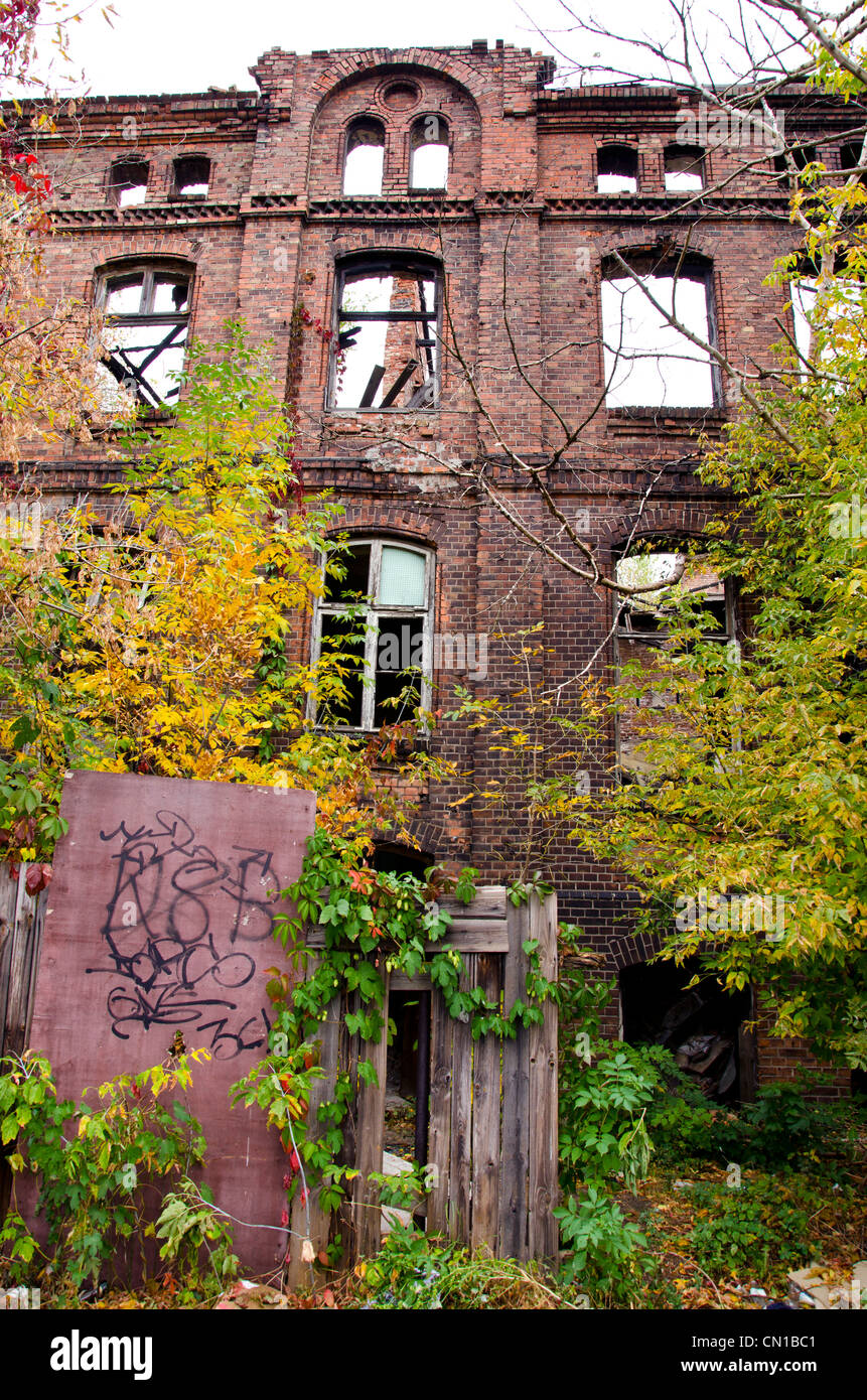 historical house ruins in Warsaw Praga district - Stock Image
