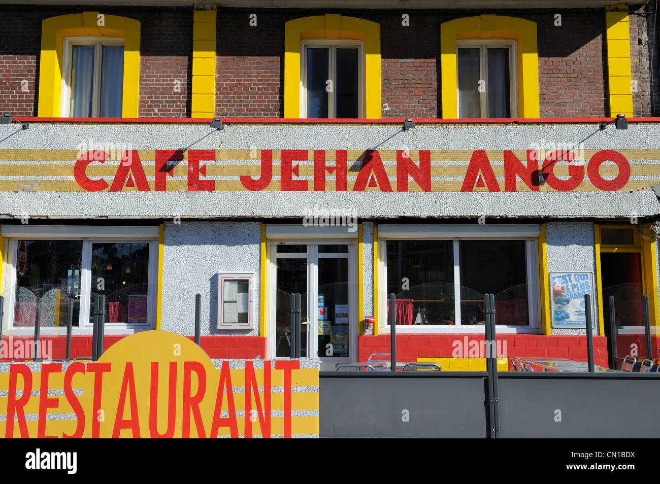 France, Seine Maritime, Dieppe, district of the Pollet, Cafe Jehan Ango - Stock Image