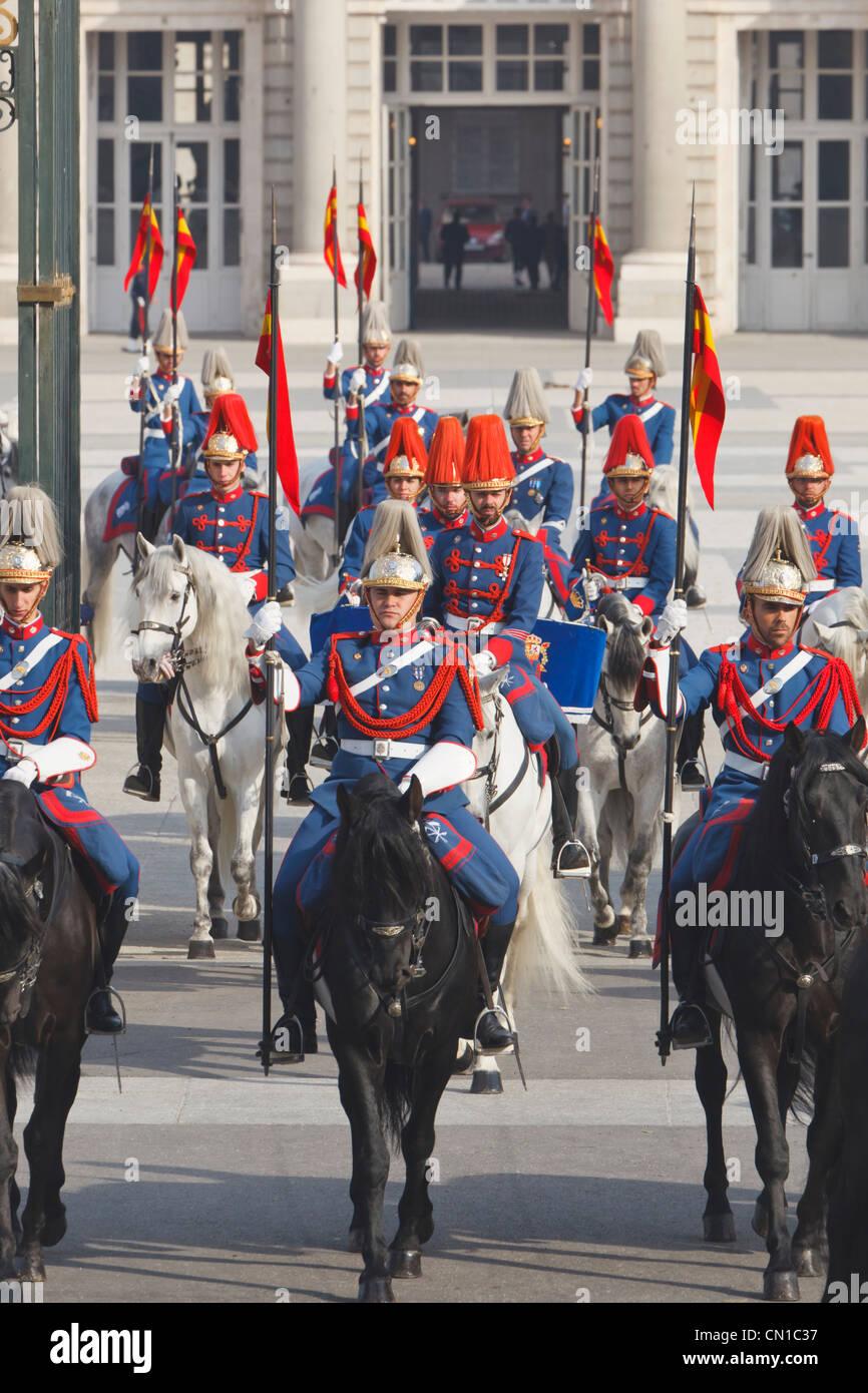 Madrid, Spain. Lanceros de la Guardia Real. Lancers of the Royal Guard. - Stock Image