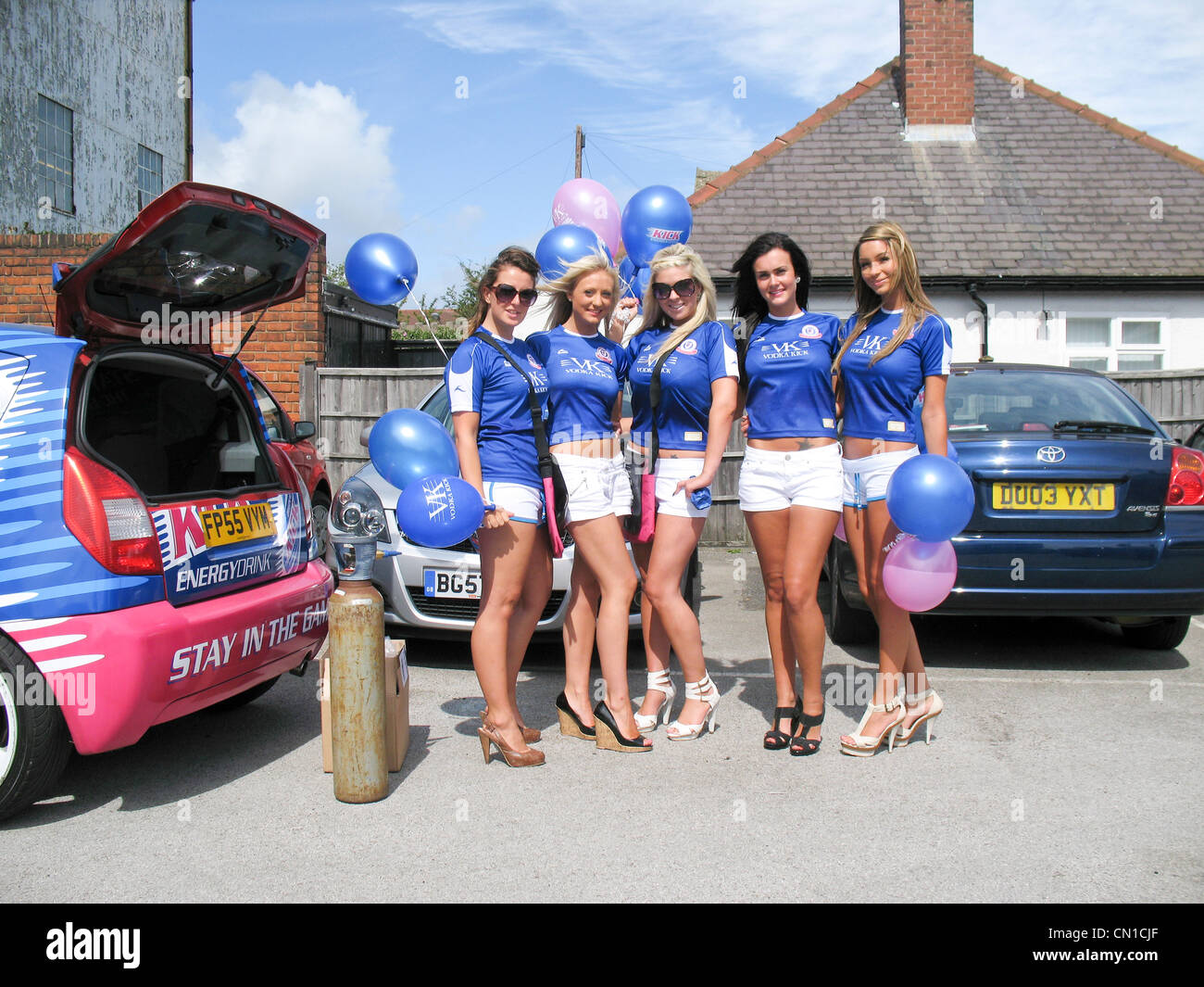 WKD promotion girls at Chesterfield Football Club - Saltergate - Stock Image