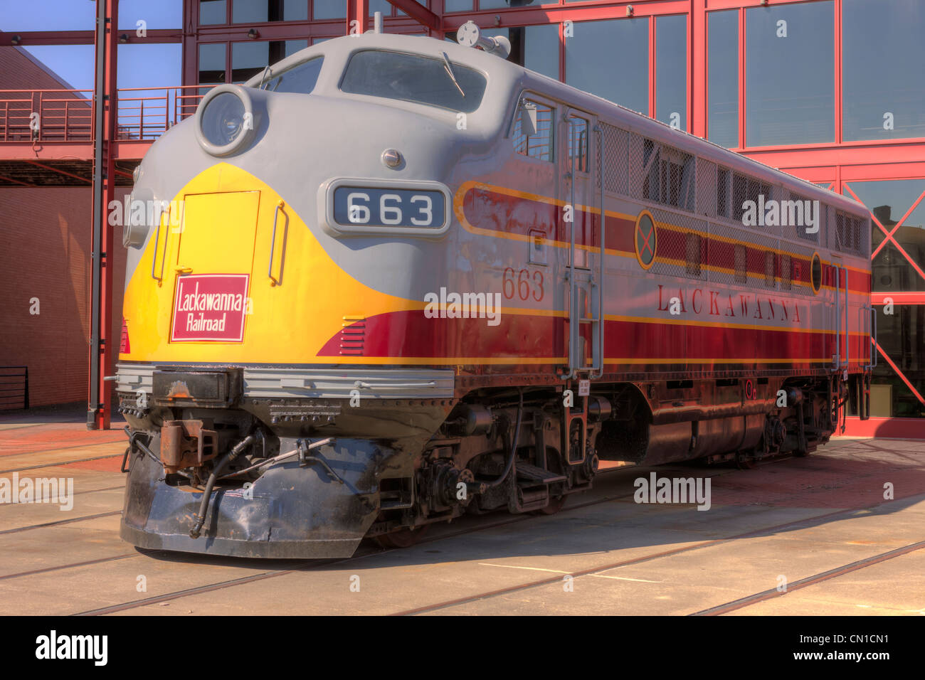 EMC F3 diesel locomotive in Lackawanna livery at the Steamtown National Historic Site in Scranton, Pennsylvania. - Stock Image