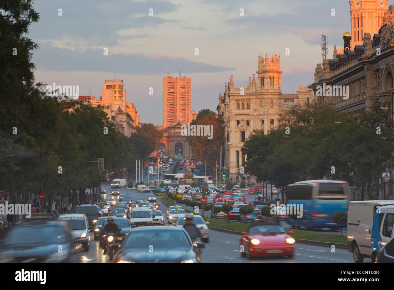 Madrid, Spain. Calle de Alcala at dusk. - Stock Image