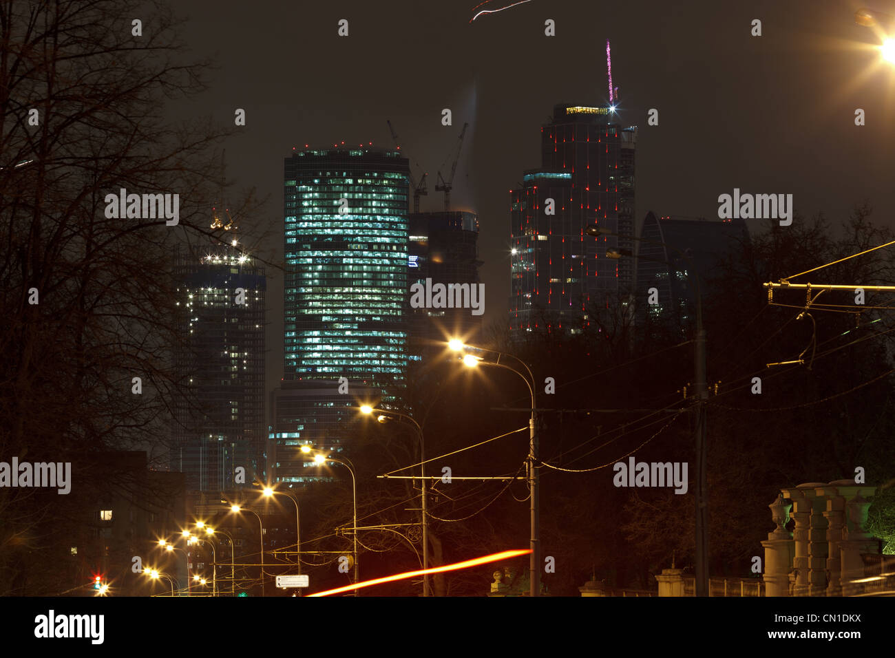 Moscow city Federatsiya tower on fire (19 of April 2012) - Stock Image