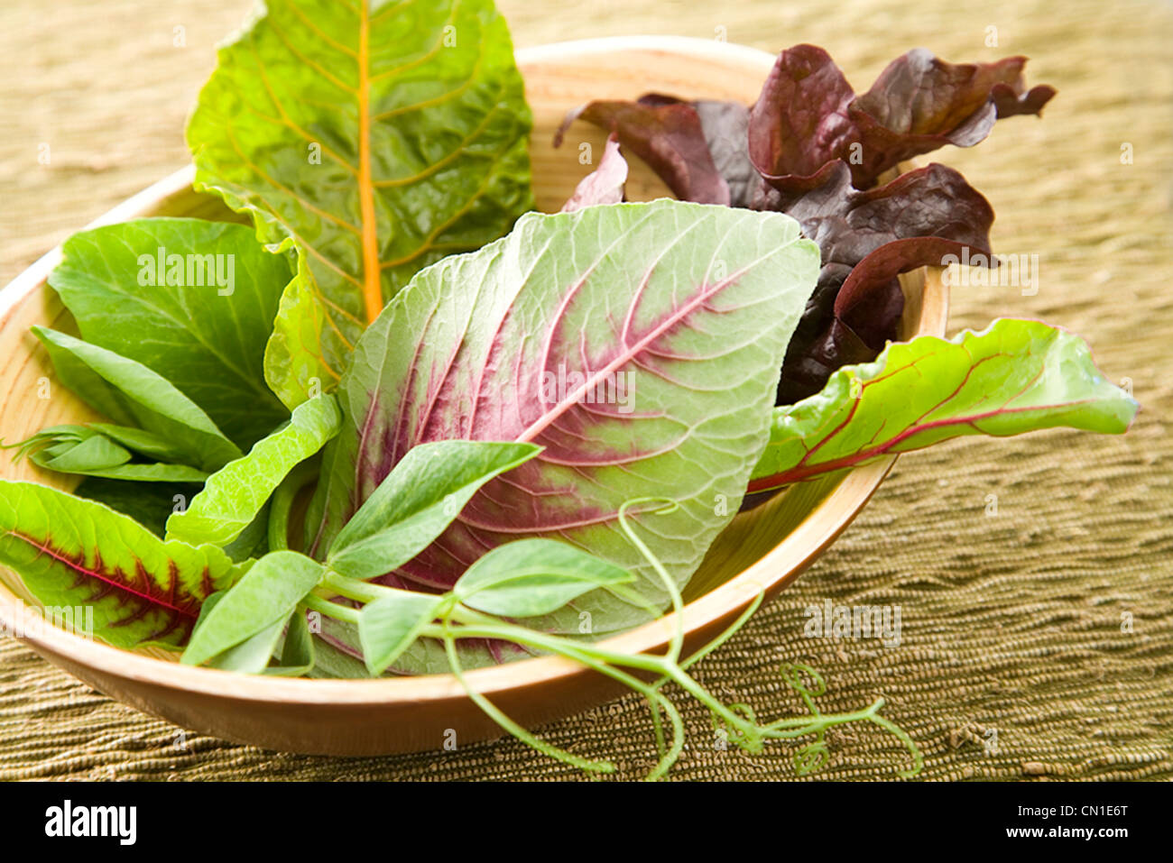 Mixed Greens in Bowl - Stock Image