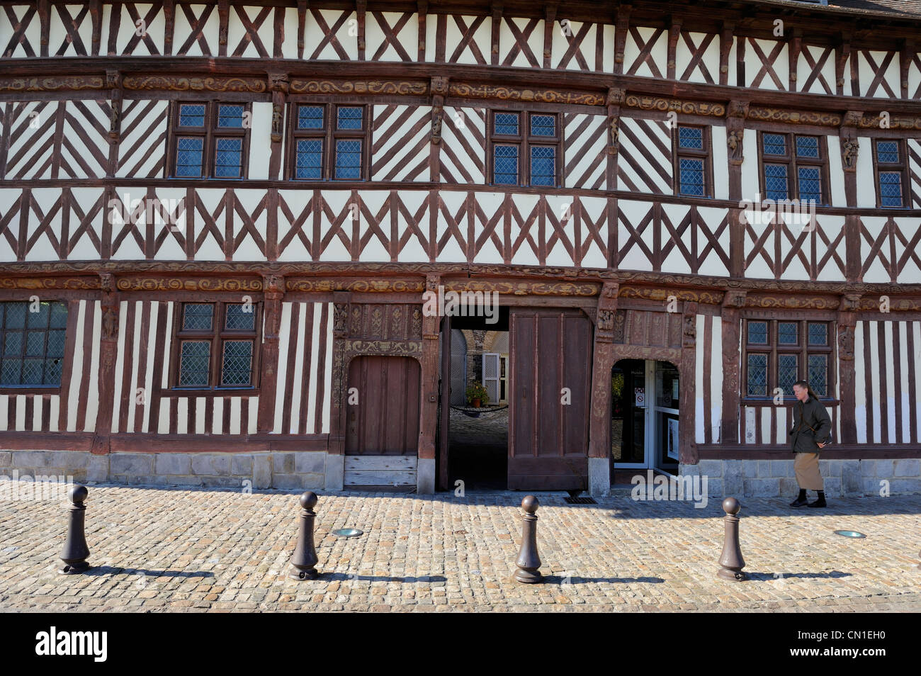 France, Seine Maritime, Saint Valery en Caux, the half timbered house called Henry IV (1540) also called house Ladire - Stock Image