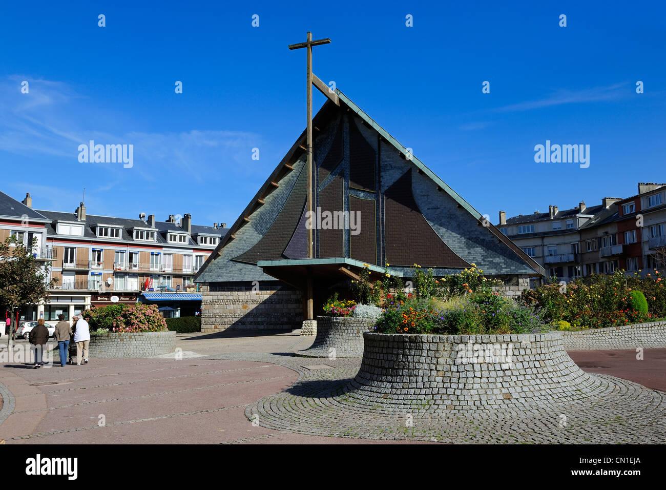 France, Seine Maritime, Saint Valery en Caux, the church - Stock Image