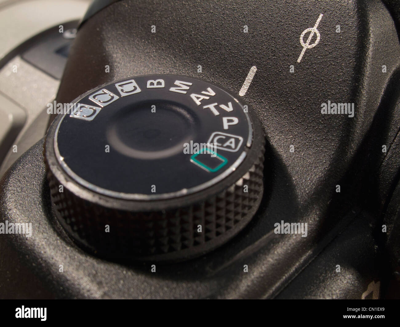 Mode dial controlling exposure modes on a Canon EOS 5D Mk II digital camera - Stock Image