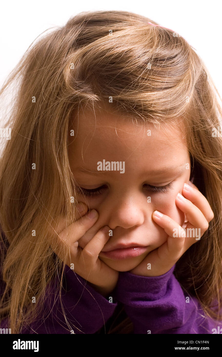 Young pretty five year old girl - sad down & glum Stock