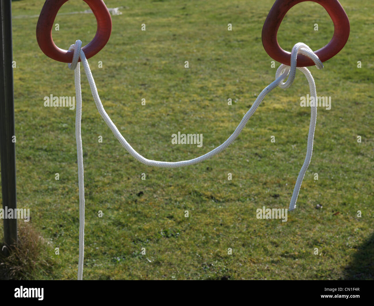 Rope Tied Up With Slack In The Middle - Stock Image