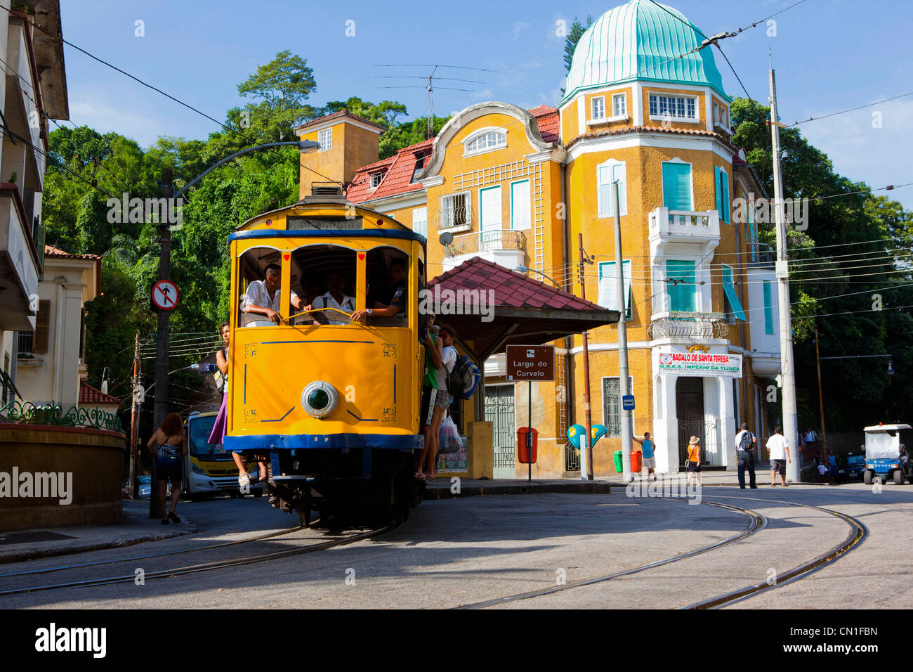 santa teresa tramway at largo do curvelo rio de janeiro brazil stock photo 47362553 alamy. Black Bedroom Furniture Sets. Home Design Ideas