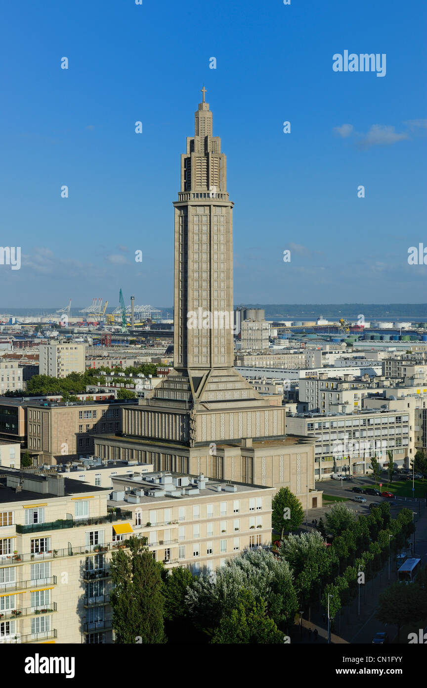 France, Seine Maritime, Le Havre, Downtown rebuilt by Auguste Perret listed as World Heritage by UNESCO, the Lantern - Stock Image