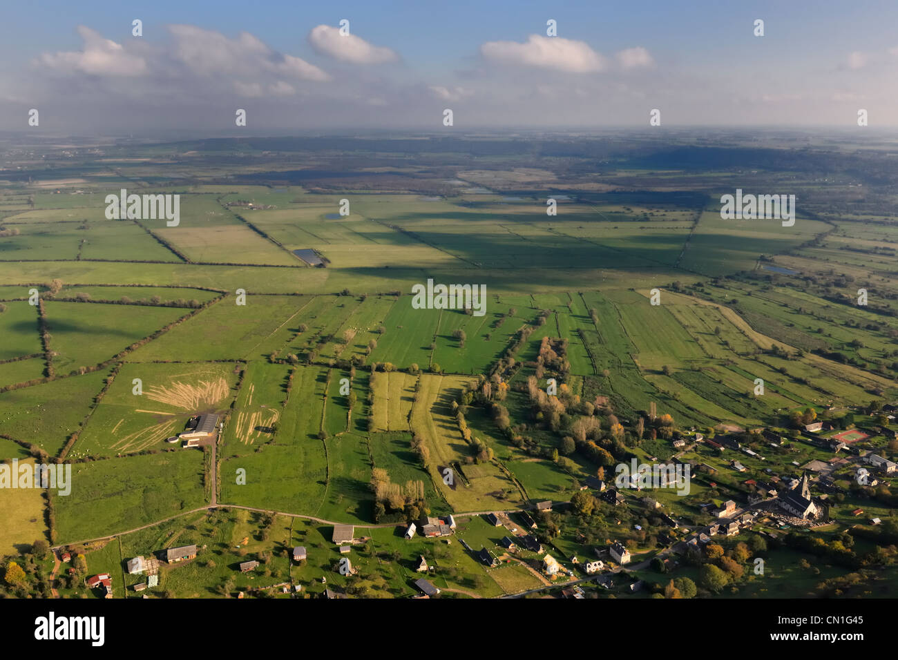 France, Eure, Marais Vernier seen from Saint Samson de la Roque (aerial view) - Stock Image