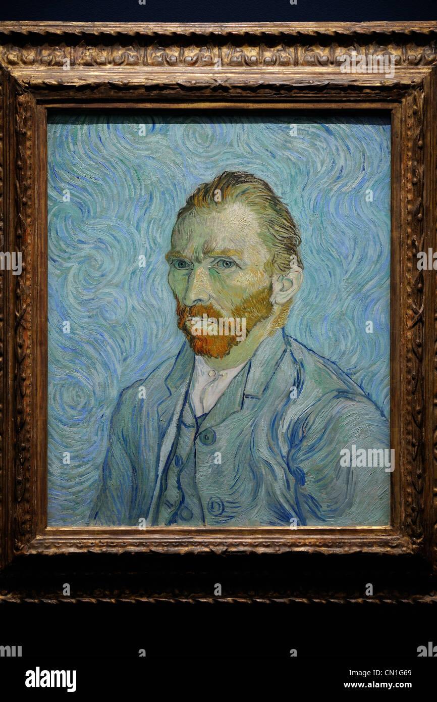 France, Paris, the Orsay Museum, Vincent van Gogh, Autoportrait 1889 - Stock Image