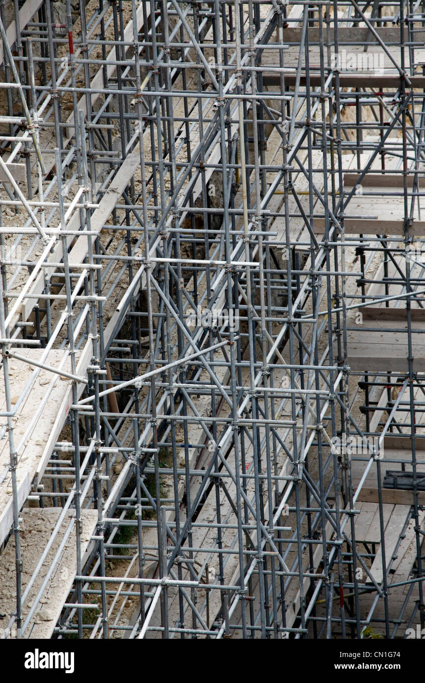 Metal scaffolding poles on the battlements of Valletta, Malta - Stock Image