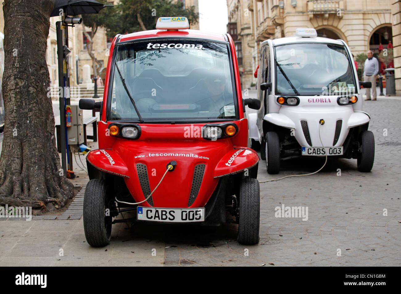 Electric smart cab taxi in Valletta, Malta - Stock Image